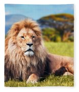 Big Lion Lying On Savannah Grass Fleece Blanket