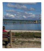 Big Mackinac Bridge 71 Fleece Blanket