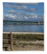 Big Mackinac Bridge 72 Fleece Blanket