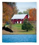 Big Red Barn Eagle Rocky Fork  Fleece Blanket