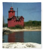 Big Red Holland Michigan Lighthouse Fleece Blanket