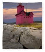Big Red Lighthouse By Holland Michigan Fleece Blanket