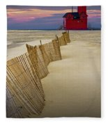 Big Red Lighthouse With Sand Fence At Ottawa Beach Fleece Blanket