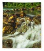 Big River  Waterfall And Dam Fleece Blanket