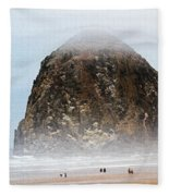 Big Rock On The Oregon Coast With Fog Fleece Blanket