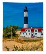 Big Sable Light On The Shore Fleece Blanket