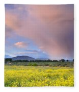 Big Storm And Tornado At Sunset Fleece Blanket