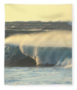 Big Surf At Sunset Fleece Blanket