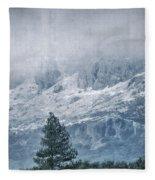 Big Tree At The Mountains Fleece Blanket