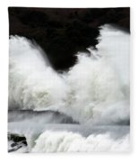 Big Waves Breaking On Breakwater Fleece Blanket