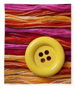 Big Yellow Button  Fleece Blanket