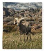 Bighorn Ram In The Badlands Fleece Blanket