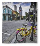 Bike And 3 Georges In Mobile Alabama Fleece Blanket