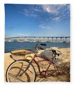 Bike And A Brdige Fleece Blanket