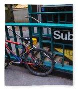 Bike At Subway Entrance Fleece Blanket