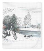 Bike In The Snow Fleece Blanket