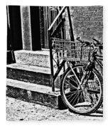 Bike In The Sun Black And White Fleece Blanket