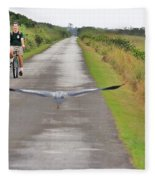Biker And The Bird Fleece Blanket