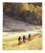 Bikers On Foresthill Divide Trail Fleece Blanket