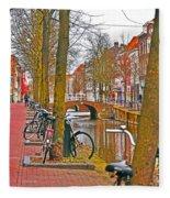 Bikes And Canals Fleece Blanket
