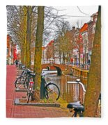Bikes And Canals Fleece Blanket