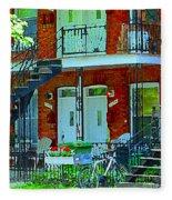 Bikes Balconies Brick Houses Flower Boxes Verdun Duplex Stairs Summer Scenes Carole Spandau Fleece Blanket