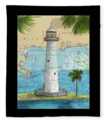 Biloxi Lighthouse Ms Nautical Chart Art Cathy Peek Fleece Blanket