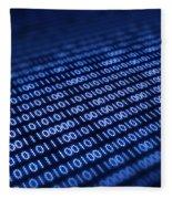 Binary Code On Pixellated Screen Fleece Blanket