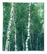Birch Forest - Green Fleece Blanket