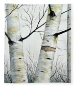 Birch Trees In The Forest By Christopher Shellhammer Fleece Blanket