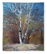 Birch Trees Fleece Blanket