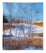 Birches And Cattails Fleece Blanket