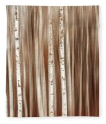 Birches In Motion Fleece Blanket