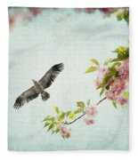 Bird And Pink And Green Flowering Branch On Blue Fleece Blanket
