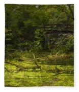 Bird By Bridge In Forest Merged Image Fleece Blanket