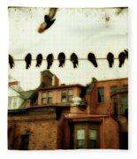 Bird Cityscape Fleece Blanket