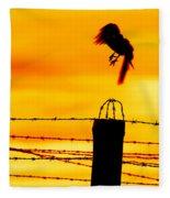 Bird Flying Off From Prison Fence Fleece Blanket