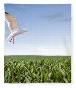 Bird Flying Over Green Grass Fleece Blanket