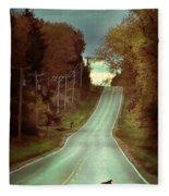 Bird In The Road Fleece Blanket