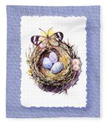Bird Nest With Daisies Eggs And Butterfly Fleece Blanket