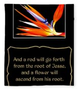 Bird Of Paradise Flower With Bible Quote From Isaiah Fleece Blanket