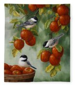 Bird Painting - Apple Harvest Chickadees Fleece Blanket