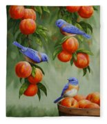 Bird Painting - Bluebirds And Peaches Fleece Blanket