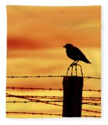 Bird Sitting On Prison Fence Fleece Blanket