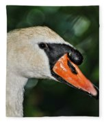Bird - Swan - Mute Swan Close Up Fleece Blanket