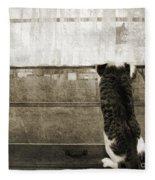 Bird Watching Kitty Cat Bw Fleece Blanket