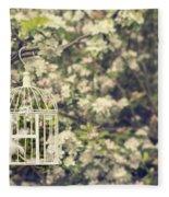 Birdcage In Blossom Fleece Blanket