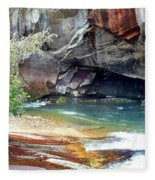 Birdrock Waterfall In Spring 2 Fleece Blanket