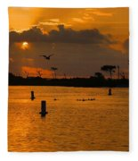 Birds And Bouys Sunrise Fleece Blanket