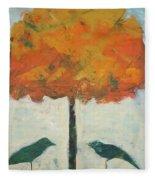 Birds And Maple Fleece Blanket